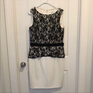 Studio One Black Lace White Skirt Dress Size 12